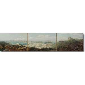 Leonardo Roda. Vista Panorâmica do Rio de Janeiro. Tríptico. Óleo sobre tela, 32,7 x 144 cm. Assinado embaixo à direita: L. Roda.