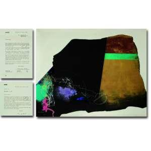 Manabu Mabe<br>O Sonho não Acabou. Óleo sobre tela, 102 x 127 cm. Assinado e datado embaixo à esquerda: Mabe/ 82. <br>No verso em cima à esquerda: O Sonho Não Acabou e, embaixo à direita: Mabe/Jul. 1982/102 x 127. <br>Acompanham duas cartas do artista, endereçadas ao então proprietário, reproduzidas ao lado da imagem do quadro, uma solicitado o empréstimo da obra para participação em uma exposição no MASP do dia 06 de maio de 1986 a 1º de Junho e, a outra, agradecendo pelo empréstimo da obra e assim como pela dilatação do prazo de empréstimo, uma vez que a exposição teve seu final prorrogado por uma semana.<br>