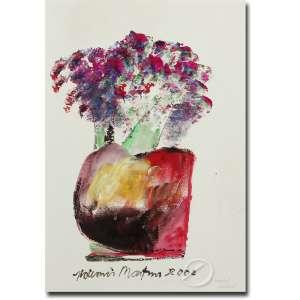 Aldemir Martins.<br>Vaso com Flores. Acrílica sobre cartão, 31,5 x 21,5 cm. Assinado e datado embaixo ao centro: Aldemir Martins 2000.<br>