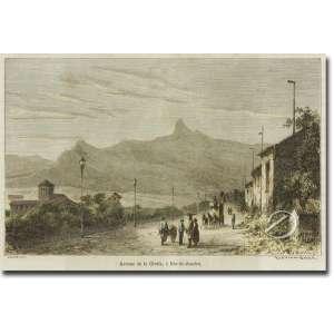 Riou.<br>Avenue da Gloria a Rio de Janeiro. Xilogravura aquarelada, 10,5 x 17 cm, gravada a partir do original de Biare. França, séc. XIX.<br>