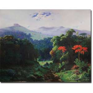 Clodomiro Amazonas.<br>Bosque com Riacho. Óleo sobre tela, 120 x 150 cm. Assinado e datado embaixo à esquerda: C. Amazonas /1936.<br>