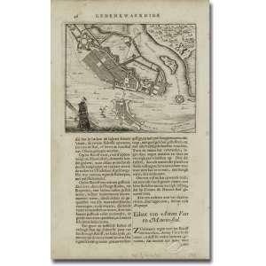 Johan Nienhof. Mapa da cidade Mauritius (Recife)- do livro Gedenkwaerdige Brasiliaense part 1, mapa 13 x 16 cm e folha total, 31 x 19 cm. Amsterdam, 1682.<br>