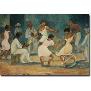 Antonio Gomide - Roda de Samba. Óleo sobre tela, 79,5 x 113,5 cm. Assinado e datado embaixo à esquerda: Gomide/ 56. Acompanha expertise emitido por Elvira Vernaschi.