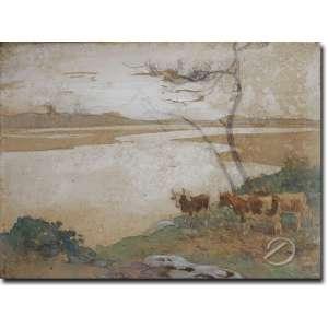 Edouard Edmond Doigneau - Feu Soir Sur L'allier. Aquarela, 13,5 x 19 cm. Assinado embaixo à direita: E. D.
