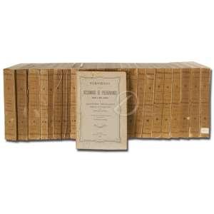 INNOCENCIO FRANCISCO DA SILVA - Diccionario Bibliographico Portuguez (24 volumes) Enc. or. / 25 vol. 16 x 23 - I 399 pp.( ABEL- BULLA) II (CAETANO - FRANCISCO MARTINS) 478 pp. III( FRANCISCO MARTINS - JOÃO PAULO DAVIDE PINTO) 447 p, IV( JOÃO DE S. PEDRO - JOÃO MALACHIAS) 472 p - V (JOSÉ MANUEL - MANUEL IGNACIO) 487 pp. VI( MANUEL IGNACIO - PEDRO DE SOUZA 533 pp. VII( PEDRO DE SOUZA - ZACHARIAS DE GOES) 573 pp. VIII( ABEL MARIA- BULLA DO S. M. O ) 573 pp., IX (O CABALISTA ELEITORAL - GUSTAVO XAVIER) 452 pp. X (HARPA (A) DE M. JOÃO TEIXEIRA) 409 pp. XI (PRIMEIROS GUIAS DOS TOMOS I A X) 320 p - XII(JOAQUIM DO AMOR DIVINO REBELLO- JOSÉ GONÇALVES DOS SANTOS SILVA) 414 p - XIII(JOSÉ GREGORIO LOPES DA CAMARA SINVAL- LUIZ DA CAMARA LEME) 385 p - XIV (LUIZ DE CAMÕES)431 p - XV(NOME DE CAMÕES E SUA OBRA) 440 p - XVI (LUIZ DE CAMPOS- MARIANA ALCOFORADO) 421 p ,XVII (MARTIM FRANCISCO RIBEIRO DE ANDRADE - RIBEIRO DE CASTRO) 422 p - XVII 422 p - XVIII (POMPILIO CAVALCANTI DE MELO - RUY DE PINA) 412 - XIX(SABINO ELOY PESSOA- TRISTÃO CANDIDO MAYER) 406 p - XX(VALENTIM FEO- ZOPHIMO CONSIGLIERI PEDROSO) 418 p - XXI (ALEXANDRE HERCULANO) 700 p - XXII (ABEL PEREIRA DO VALE - AUTOS) 545 p - XXIII( GUIA BIBLIOGRAFICA) 762 p - XXIV(SUBSIDIOS PARA UM DICIONARIO DE PSEUDONIMOS) 298 pp. 1972. Imprensa Nacional Lisboa.
