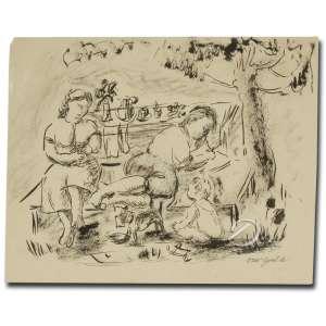 Oswaldo Goeldi Figuras no Parque. Desenho a nanquim, 19 cm x 23 cm. Assinado embaixo à direita: Osw. Goeldi.