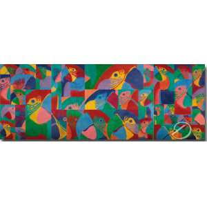 Claudio Tozzi Painel Papagalia. Tríptico, acrílica sobre tela colada em madeira; 150 x 400 cm. Assinado, datado e localizado no verso, onde se lê: Hotel Porto Velho / Rondônia / 1985 / Painel Papagalia / 1.50 M x 4.00 M / Acrílica sobre tela / Assinatura do artista / Claudio Tozzi / São Paulo.