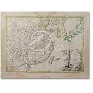 Lattre, Charles Jean L'Empire de La Chine. Litogravura aquarelada, a partir do livro Atlas Chinois avec les Isles du Japon, por M. Bonne. 32 x 45 cm. França, 1791.