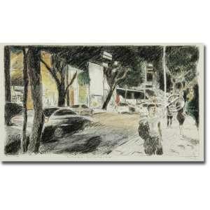 Libano Calil Rua Oscar Freire- Permitido Parar à Noite. Crayon seco, grafite, carvão, lápis de cor e aquarela sobre papel Fabriano artesanal, sem verniz fixador, 22,5 x 40 cm (a imagem). Assinado e datado embaixo à direita: Libano 2018.