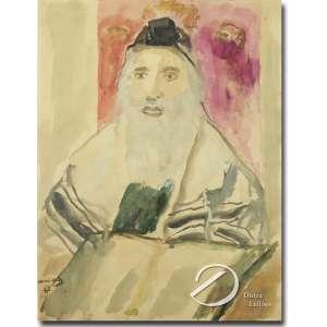 Mané Katz (1894- 1962) - Rabbi with T'Filin. Aquarela, 65 x 50 cm. Assinada e datada 1961, embaixo à esquerda. Acompanha nota de compra datada de 1984.