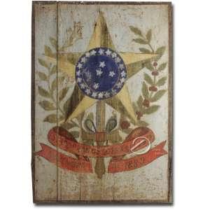 Placa de madeira pintada, representando as Armas da República em suas cores; 82 x 56 cm. Brasil, séc. XX.