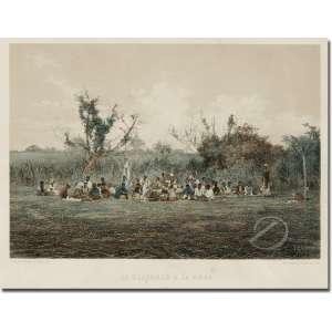 Victor Frond - Le Déjeuner a la Roca. Litografia aquarelada, 24,50 x 35 cm. Gravado por F Sorrieu Impresso por Lemercier - Paris. A partir da fotografia de Victor Frond. França, sec. XIX