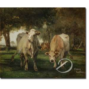 Marie Dieterle - Vacas no Pasto. Óleo sobre tela, 54,5 x 66 cm. Assinado embaixo à direita: Marie Dieterle.