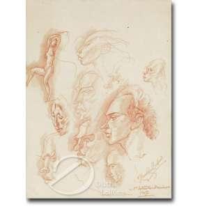 Cavalleiro, Henrique Campos - Estudos. Desenho a sanguínea, 26,5 x 19,5 cm. Assinado e datado embaixo à direita: H. Cavalleiro / 1.o de setembro - domingo / 1957.