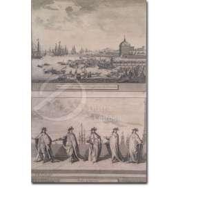 Autoria Desconhecida - Embarquement de l Princesse de Portugal Catherine e Chevaliers de Portugal. Duas litografias, emoldurada, 25 x 26 cm.
