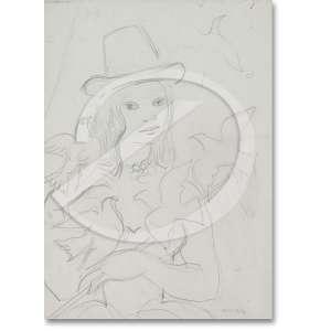 Mourão, Noêmia (1912-1992) - Moca com aves. Desenho a lápis preto, 24 x 17 cm. Assinado embaixo a direita: Noemia.