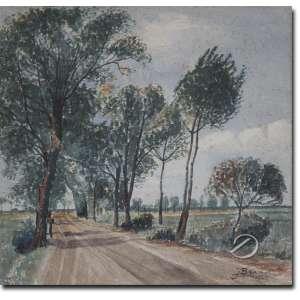 J. Branet - Estrada Arborizada. Aquarela, 32 x 32 cm. Assinado e datado embaixo à direita: J. Branet /1945.