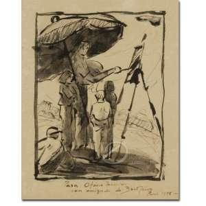 Antonio Bandeira - Pintor e seus discípulos. Desenho à nanquim, 17 x 14 cm. Dedicado, situado e datado embaixo, no centro: Para Otavio Medeiros / com amizade do Bandeira / Paris 1948.
