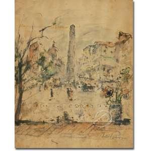 De Pisis - Obelisco. Aquarela sobre papel, 36 x 29 cm. Assinada embaixo à direita:De Pisis.