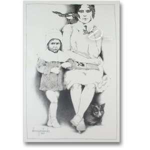 Penteado, Darcy - Mulher com Pássaro, Gato e Criança. Desenho a nanquim, 87 x 57 cm. Assinado e datado embaixo à esquerda: Darcy Penteado / 1980.