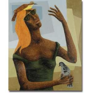 Clóvis Graciano - Figura Feminina com Pássaros. Óleo sobre tela, 65 x 54 cm. Assinado e datado embaixo à esquerda: Graciano 69.