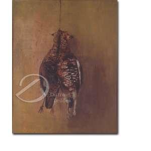 Autoria Desconhecida. Aves Abatidas. Óleo sobre tela, 20,5 x 25,5 cm.