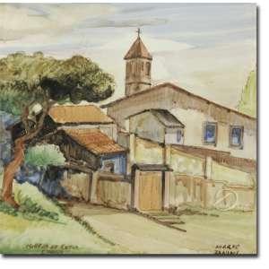 Mario Zanini - Igreja de Cotia. Acrílica sobre Azulejo, 14,5 x 14,5 cm. Embaixo à esquerda: Igreja de Cotia/ S. Paulo e embaixo à direita assinado: Mario / Zanini.