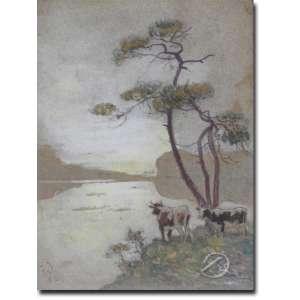 Edouard Edmond Doignneau - Feu. Soir em Britagne. Aquarela, 19 x 13,5 cm. Assinado embaixo à esquerda: E. D.