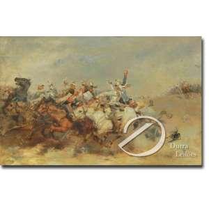 Aimè Nicolas Morot - Cena de Batalha. Óleo sobre madeira, 27 x 41 cm. Sem assinatura. França, séc. XIX/XX.