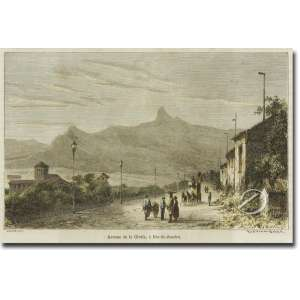 Riou - Avenue da Gloria a Rio de Janeiro. Xilogravura aquarelada, 10,5 x 17 cm, gravada a partir do original de Biare. França, séc. XIX.