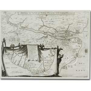 Mathaus Merien - Abbil dung der Statt und Vestung Parayba in der Landschaft Brasília - Tomada da Paraíba - Litografia, 28 x 36 cm. Frankfurt 1639.