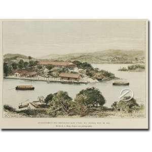 A. Slom - Etablissement des imigrants dans l'ilha das Flores, Baie de Rio; gravado por Maynard a partir de uma fotografia, assinado na chapa, 14,5 x 19 cm, Inglaterra, séc. XIX.