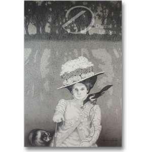 Penteado, Darcy - Mulher com bengala, pássaro e gato. Desenho a nanquim, 88 x 58 cm. Assinado e datado embaixo à direita: Darcy Penteado / 1980.