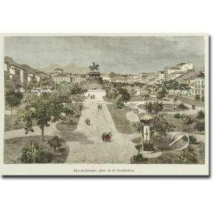 Therand - E. - Rio de Janeiro - Place de la Constitution. Xilogravura de rolo aquarelada, 10 x 16 cm. Assinado na mancha embaixo à esquerda, 10 x 16 cm. França, séc. XIX. c.1850.