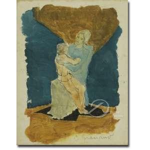 Clovis Graciano. - Mulher com Criança. Desenho à guache, 24 x 28,5 cm. Assinado embaixo à direita: C. Graciano.