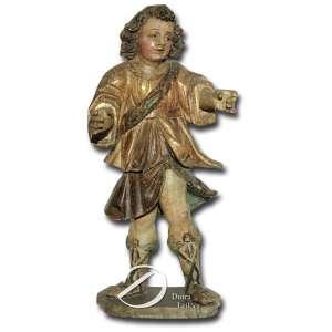Lampadófaro antropomórfico de madeira esculpida e policromada; base circular e 105 cm de altura. América Espanhola, séc. XVIII.