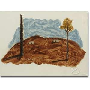Orlando Rabello Teruz - Paisagem. Técnica mista, 14,5 x 20 cm. Assinado embaixo à esquerda: Teruz.