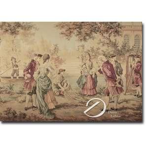 Tapeçaria belga manufaturada, estilo Gobelin, representando cena romântica, emoldurada 130 x 85 cm.