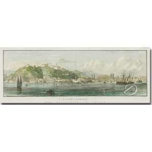 Rio de Janeiro view from de sea. Xilogravura aquarelada, 10,5 x 33 cm. Europa, séc. XIX - c. 1860.