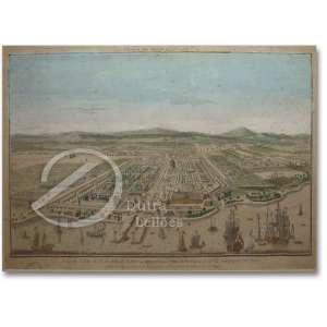 Vue de l'isle et de la ville de Batavia appartenant aux Hollandois, - pour la compagne des Indes. gravura colorida, 26 x 42 cm. Século XX.
