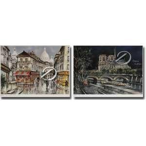 Maurice Legendre - Paris, Notre Dame La Muit et Paris Mont Matre et le Consulat. Pendant de reproduções sobre papel, 26 x 34 cm, cada.