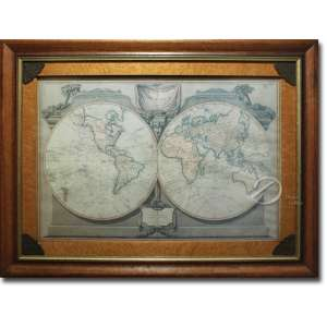 Robert Lauren & James Whittle - The New Map of the World. Reprodução gráfica emoldurada; 60 x 86 cm a mancha e 114 x 86 moldura. Inglaterra, séc. XX.