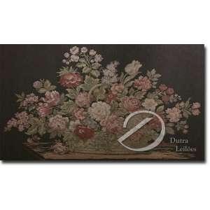 Tapeçaria francesa industrializada. Arranjo floral, 70 x 113 cm.
