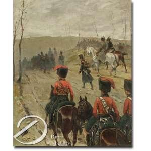 Georges Louis Hyon - Manobra Militar. Óleo sobre tela, 46 x 38,5 cm. Assinado embaixo à esquerda: G. Hyon.
