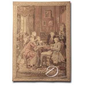 Tapeçaria representando cena interior com sete personagens jogando cartas; 156 x 112 cm.