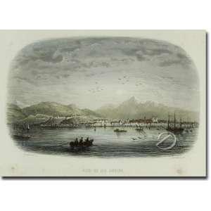 Rouargue, C. Rade de Rio de Janeiro. Litografia colorida, 12 x 19 cm, gravada por Ch. Lalaisse. França, séc. XIX. c.1850.