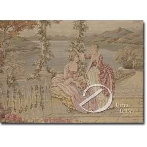 Terraço com Duas Damas. Tapeçaria industrializada, francesa, aplicada sobre placa, 50 x 72 cm.
