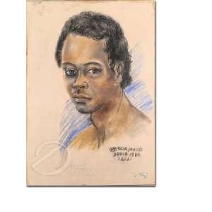 Gabriela Dantés - Rapaz. Desenho a crayon, 48 x 33 cm. Assinado, situado e datado embaixo à direita: Dantés Bahia 1980 /12/3. O vidro está quebrado.