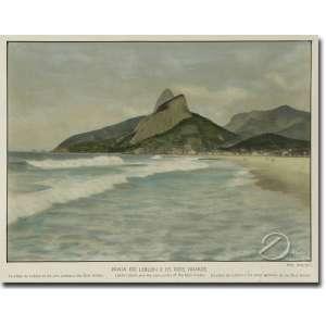 Rosenfeld - Praia do Leblon e os Dois Irmãos. Fotolitografia colorida, 16 x 23 cm. Brasil, séc. XX.