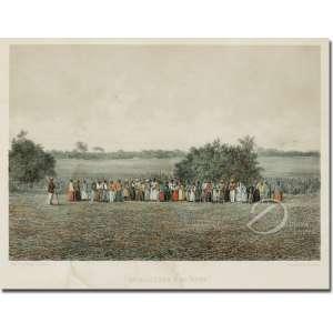 Victor Frond - Travailleurs a la Roca. Litografia aquarelada, 24,50 x 35 cm. Gravado por F Sorrieu Impresso por Lemercier - Paris. A partir da fotografia de Victor Frond. França, sec. XIX